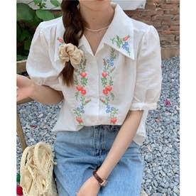 刺繍開襟シャツ (ホワイト)