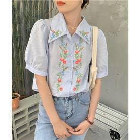 刺繍開襟シャツ (ブルー)