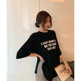 オーバーサイズロゴTシャツ (ブラック)