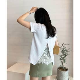 バックレースレイヤードTシャツ (ホワイト)