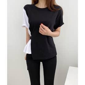 Dカンベルトレイヤード風Tシャツ (ブラック)