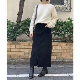 綿ツイルセンタースリットタイトスカート (ブラック)