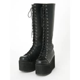 スピンドルロング厚底ブーツ (ブラック)