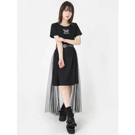 ベルト付きチュールスカート (ブラック)
