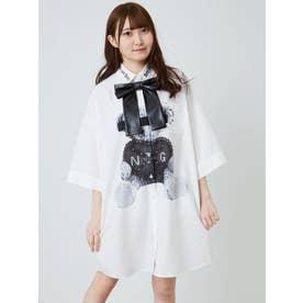 ピアスベアプリントBigシャツ (オフホワイト)