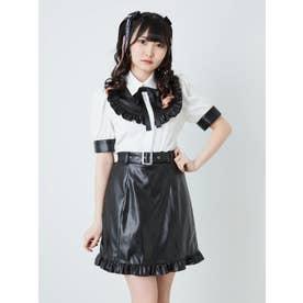 合皮台形スカート (ブラック)