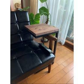 元大工の手作りアイアン&ウッド サイドテーブル (ブラウン&」ブラック)