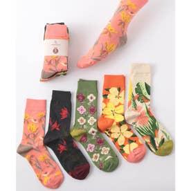 花柄デザイン ユニセックス ソックス5足セット 靴下(MIX)