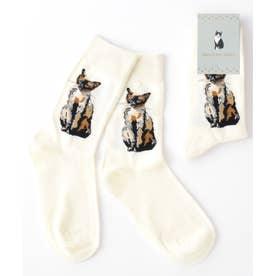 キャット 猫デザインソックス ユニセックス 靴下(ネイビー)