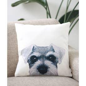 Miart × コラボ クッションカバー ペットデザイナー 犬 猫 (ホワイト×シルバー)