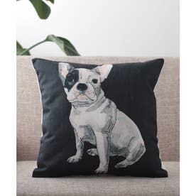 クッションカバー 犬 猫 (ブラック)