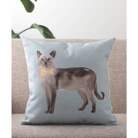 猫 クッションカバー (ライトブルー)