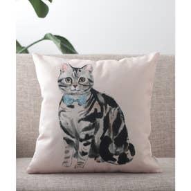 猫 クッションカバー (ライトベージュ)
