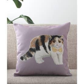 猫 クッションカバー (パープル)