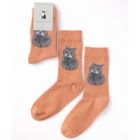 キャット 猫デザインソックス ユニセックス (ダークオレンジ)