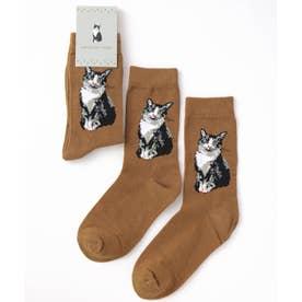 キャット 猫デザインソックス ユニセックス (ブラウン)