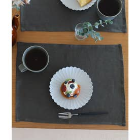 【2枚セット】 天然麻 100% ストーンウォッシュ 吸水速乾 ランチョンマット (カーキ)