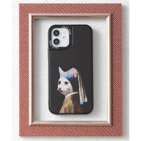 【12対応】TPU 鏡面 名画やペットデザイン iPhone スマホケース (ブラック)