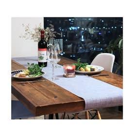 撥水PVC テーブルランナー (ブルー)