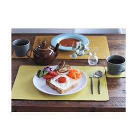 PUレザー リバーシブルランチョンマット コースター 【2枚ずつ】セット (オレンジ)