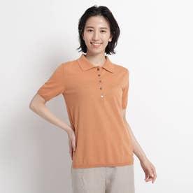 【ウォッシャブル】コットンリネンニットポロシャツ (ライトオレンジ)