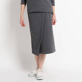 ◆【WEB限定サイズ・カラー】【ウォッシャブル】フロントデザインスウェットスカート (ディープグレー)
