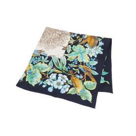 オリジナルボタニカルプリントスカーフ (ネイビー)