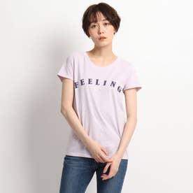 ◆【ウォッシャブル】コットン混ベーシックロゴTシャツ (ロイヤルパープル)