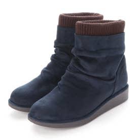 ニットレイヤードブーツ 211-162 (紺)