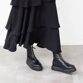 フロントジップ厚底ブーツ 210-321 (黒)