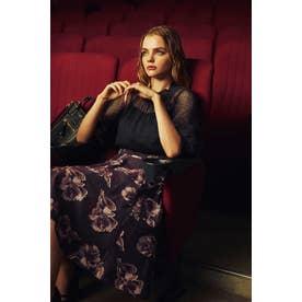|美人百花 10月号掲載|フローラルカットジャガードスカート バイオレット