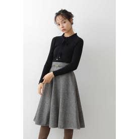 ◇パイピングツイードスカート ブラックツイード1