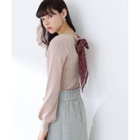 スカーフ付ニットトップス ピンク