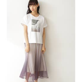 Tシャツ×グラデーションスカートセット ラベンダー