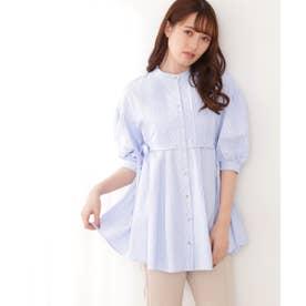 ◇バンドカラーストライプシャツ ブルー