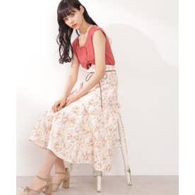 ◇リネン調ボタニカルフラワースカート キャメル