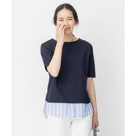 ストライプシャツ 重ね着風  プルオーバー Tシャツ (ネイビー系)