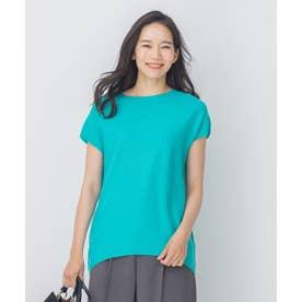 【Sサイズ有】コットン ホールガーメント フレンチスリーブ ニット (グリーン系)