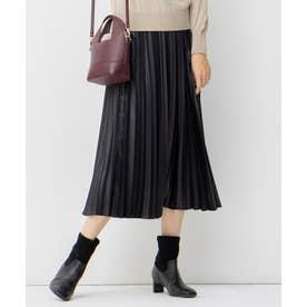 MODE SATIN レザー風 プリーツスカート (ブラック系)