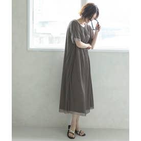 【Sサイズ有】シアー レイヤード カットソーワンピース (グレージュ)