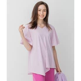 【Sサイズ有】フレアシルエット アシンメトリー Tシャツ (ピンク系)