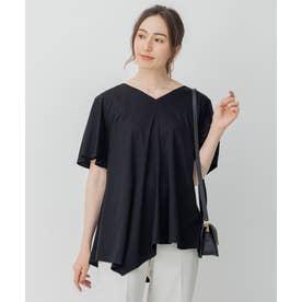 【Sサイズ有】フレアシルエット アシンメトリー Tシャツ (ブラック系)