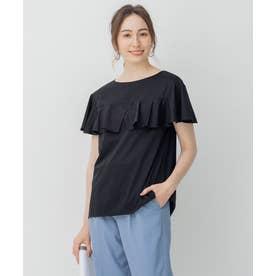 【Sサイズ有】BIGフリルジャージー Tシャツ (ブラック系)