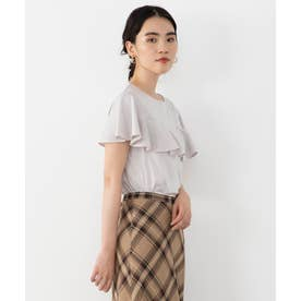 【Sサイズ有】BIGフリルジャージー Tシャツ (アイボリー系)