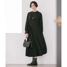 【Sサイズ有】プリーツジョーゼットワンピース (ブラック系)
