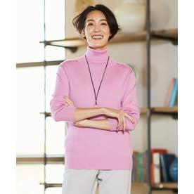 【洗える/Sサイズ有】カシミヤシルク タートルネックニット (ピンク系)