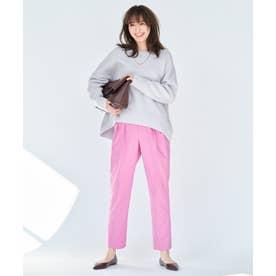 【超軽量・UVカット】ライトダブルクロス テーパードパンツ (ピンク系)