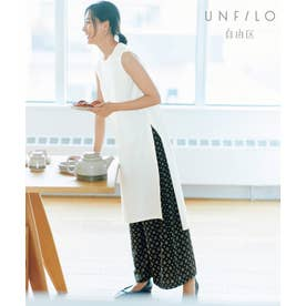【UNFILO】プリントパンツ セットアップ(検索番号:UK22) (オフ×ネイビープリント)