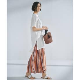 無地 チュニックTシャツ × ストライプ ワイドパンツ セット (オレンジ系1)