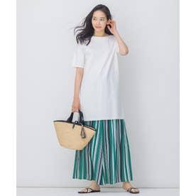 無地 チュニックTシャツ × ストライプ ワイドパンツ セット (グリーン系1)